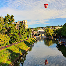 Balloon over Bth by Leon Chester - Landscapes Travel ( water, hot air balloon, england, bath, balloon, travel photography, relection, river )