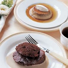 Coffee-Cardamom Flans with Orange Crème Fraîche