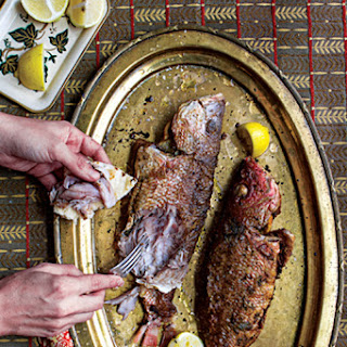Samak Imtabal Maqli (Lemon-Stuffed Fried Fish with Green Chile Rub)