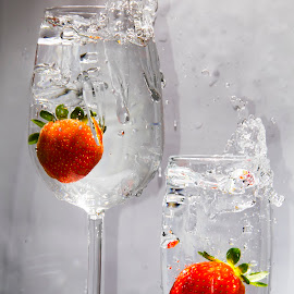 Two drinks of Straberry's aromatic water by Daniel Mandowsky - Food & Drink Alcohol & Drinks