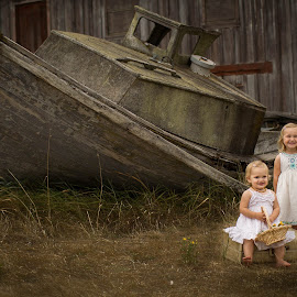 Shipwrecked by Dale-Marie Van Ess-Boersema - Novices Only Portraits & People ( vintage, suitcase, toddlers, boat, rustic,  )