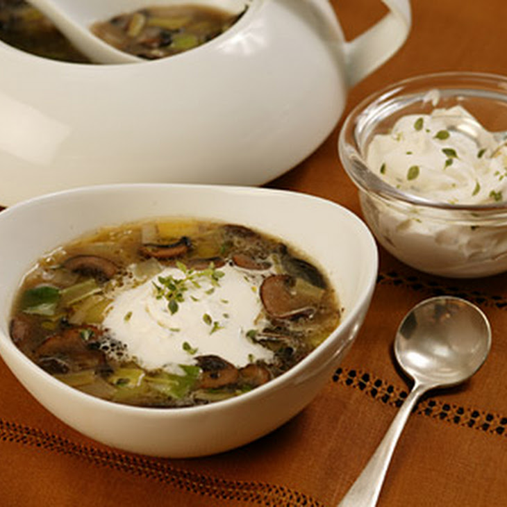 Mushroom And Leek Soup With Thyme Cream Recipes — Dishmaps