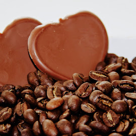 Chocolate and coffee by Anka Alstad - Food & Drink Candy & Dessert ( chocolate, heart, beans, coffeechocolate, coffee, brown, coffeebeans )