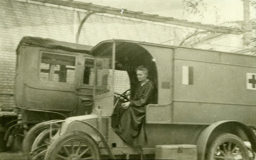 "Marie Curie driving a ""Little Curie"", 1917"