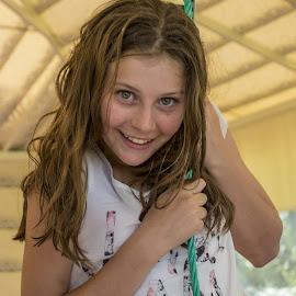 enjoying life by Vibeke Friis - Babies & Children Children Candids ( rope swing, girl,  )