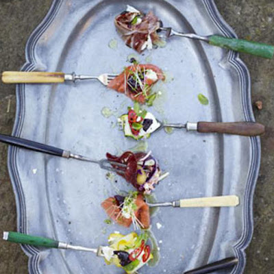 DIY party combos - smoked salmon with horseradish & beetroot