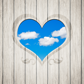wooden heart clouds by Markus Gann - Landscapes Cloud Formations ( old, concept, wood, retro, plank, valentine, space, rustic, decor, love, ancient, sky, bavaria, nature, card, clouds, blank, heart, symbol, decoration, vintage, texture, beautiful, german, romantic, shape, board, rough, sign, frame, wooden, pattern, blue, textured, day, antique, natural, design )