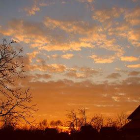 by Nat Bolfan-Stosic - Landscapes Sunsets & Sunrises ( over, village, bright, sunset, colors )