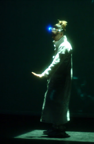 <p> &#39;Grace - A New Media Duet&#39; performed by jamie with Joe Laughlin of Joe Ink. Wearing wireless camera feed, and kinetic LED scultpures by Diana Burgoyne.</p>