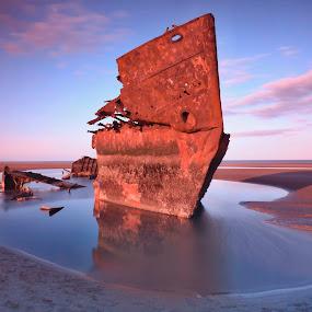 Wreckship reflection by Jozef Svintek - Landscapes Waterscapes ( clouds, sand, wreckship, reflection, seascape, , water, device, transportation )