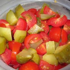 Tomato and Pickled Dill Cucumber salad