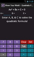 Screenshot of Quadratic Equation Solver
