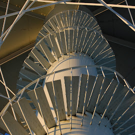 Looking Up by Norman Stephens - Buildings & Architecture Other Exteriors ( water, michigan, escanaba, tower, steps, up,  )