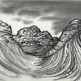 Badlands by Jack Skyyler - Drawing All Drawing ( sand, mountains, desert, dirt, rocks,  )