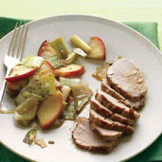 Pork Tenderloin with Sauteed Apples and Leeks