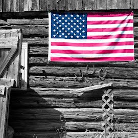 Americana by Paul Cleath - Artistic Objects Antiques ( americana, black and white with color, flag, barn, american flag, antique, selective color, pwc )