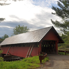 Red covered bridge by Janice Burnett - Buildings & Architecture Bridges & Suspended Structures ( red, covered bridge, outdoors, nostalgia, rural, wooden bridge, country )