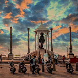 Mahatma by Parthi Thi - Buildings & Architecture Statues & Monuments ( clouds, statue, photograph, legend, canvas, photo, people, photography )