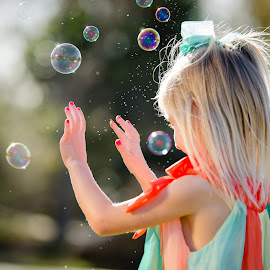 The wonder of bubbles by Michael Frazier - Babies & Children Children Candids ( child, blonde, girl, bubbles, play, fun,  )