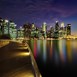 Skyline with purple sky by Ken Goh - City,  Street & Park  Skylines