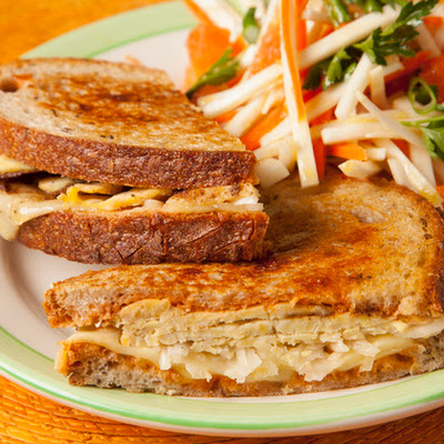 Tempeh Rachel Sandwiches on Rye with Carrot & Celery Root Salad
