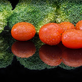 Broccoli and Tomatoes by Betsy Wilson - Food & Drink Fruits & Vegetables ( health food, tomato, vegetables, broccoli, tomatoes )