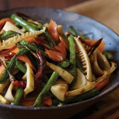 Bamboo Shoot, Mushroom, and Long Bean Stir-Fry
