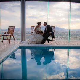 By the pool by Luis Photojournalist - Wedding Bride & Groom ( clouds, wedding photography, sky, pool, wedding, cloudscape, bride and groom, bride, groom )