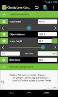 Screenshot of Qioptiq Lens Calculator