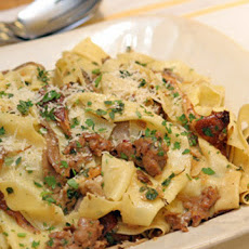 Pappardelle with Spicy Sausage and Mixed Wild Mushrooms