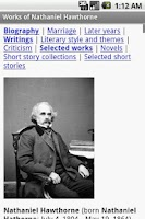 Screenshot of Works of Nathaniel Hawthorne
