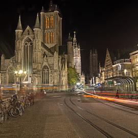 Sint Niklaas in Gent by Angela van Wel - City,  Street & Park  Historic Districts ( sint niklaas gent ghent night church )