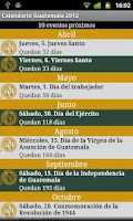 Screenshot of Calendario Feriados Guatemala