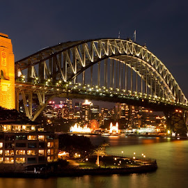 Sydney Harbour Bridge by Timothy Stone - City,  Street & Park  Skylines ( sydney harbour bridge, harbour, night, cityscape, sydney )