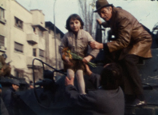 花を持って広場に集まり、兵士に配るデモ参加者