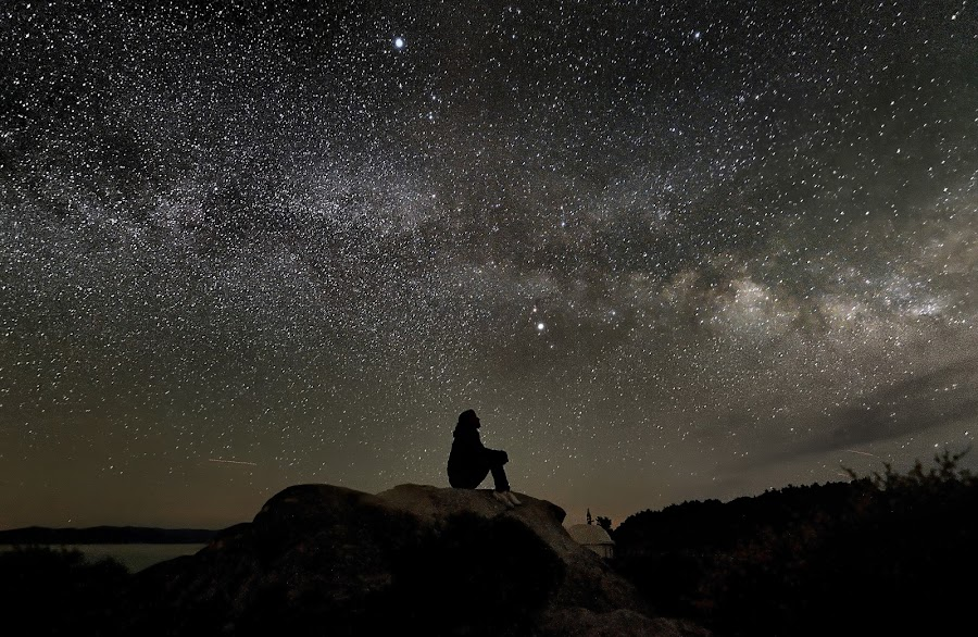 Me... and the stars by Georgos Tsamakdas - Landscapes Starscapes ( milkyway, girl, stars, night, lonely )