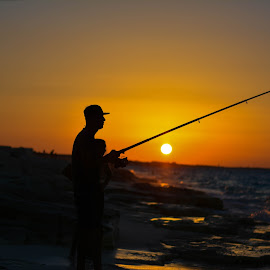 sunset Fishing  by Ahmed Eldin - Sports & Fitness Watersports ( fishermen, sunset, silhouette, fish, silhouettes, fishing, fisherman,  )