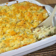Cheddar Mashed Potato and Ham Bake