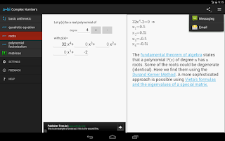 Screenshot of Complex Numbers Calculator