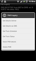 Screenshot of PNR Enquiry