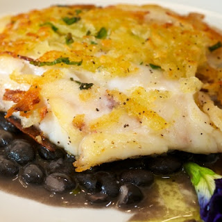 Yucca-Crusted Red Snapper with a Black Bean Broth