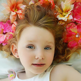 The Flower Beauty by Cheryl Korotky - Babies & Children Child Portraits ( a heartbeat in time photography, amazing faces, beautiful children, child model nevaeh )