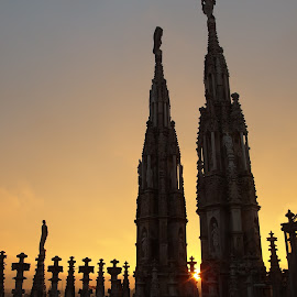 Sunset in Milano by Pipia Kanjeva - Buildings & Architecture Public & Historical ( #sunset #milano #italy #duomo #gargyole )