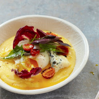 Polenta With Winter Salad, Poached Egg And Blue Cheese