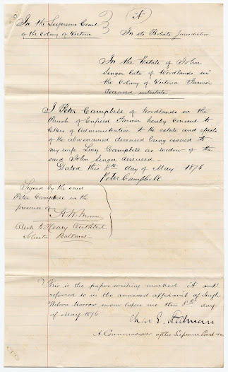 The letter from Lucy's second husband, Peter Campbell, requesting administration rights so the licence of John Singer's estate would be issued to his wife Lucy.