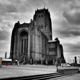 Anglican Cathedral, Liverpool by Tom Gordon - Buildings & Architecture Places of Worship ( clouds, church of england, liverpool, cathedral, steps )