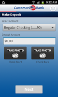 Screenshot of Customers Bank Mobile Banking