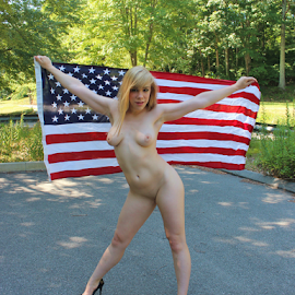 God Bless America by Bergman Photography - Nudes & Boudoir Artistic Nude ( blonde, nude, flag, patriotic, outdoor )
