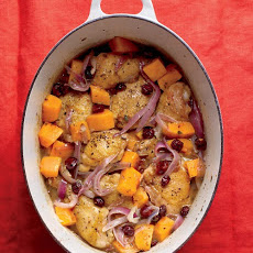 Braised Chicken with Butternut Squash and Cranberries