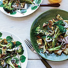 Grilled Broccoli and Bread Salad with Pickled Shallots